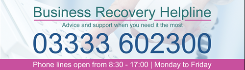 "Growth Hub banner reading: ""Business Recovery Helpline - Advice and support when you need it the most. Call 03333 602300 - phone lines open 08:30-17:00 Monday to Friday"