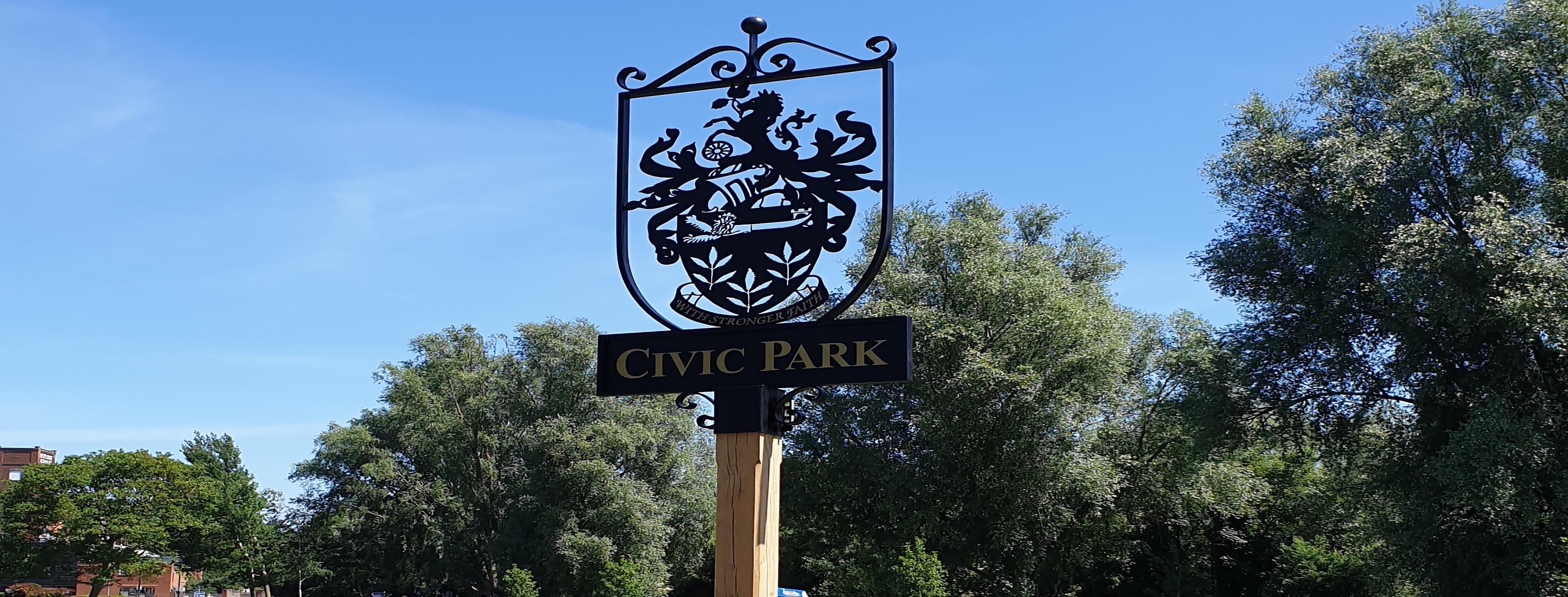 News article entitled Civic Park's new sign