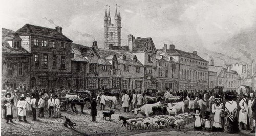 A photo of Ashford market lower high st in 1805
