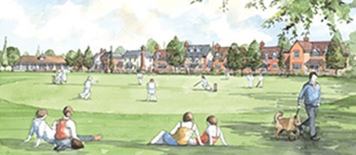 Artist's impression of Chilmington Green. Residents sat on the floor in the foreground watching a game of cricket, with rows of trees and houses behind the pitch