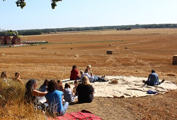 Residents sat on a hill overlooking the proposed SAGC site