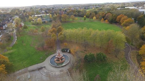Drone aerial photograph of Victoria Park with the Hubert fountain in the foreground