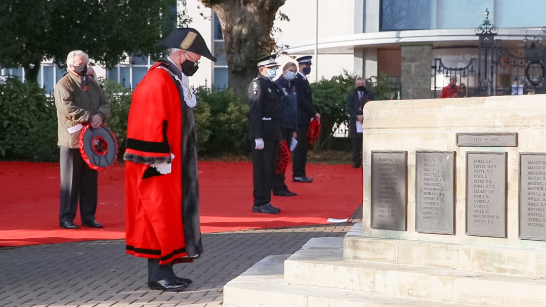 The Mayor of Ashford, Cllr John Link at memorial gardens during Ashford's 2020 Remembrance Sunday service