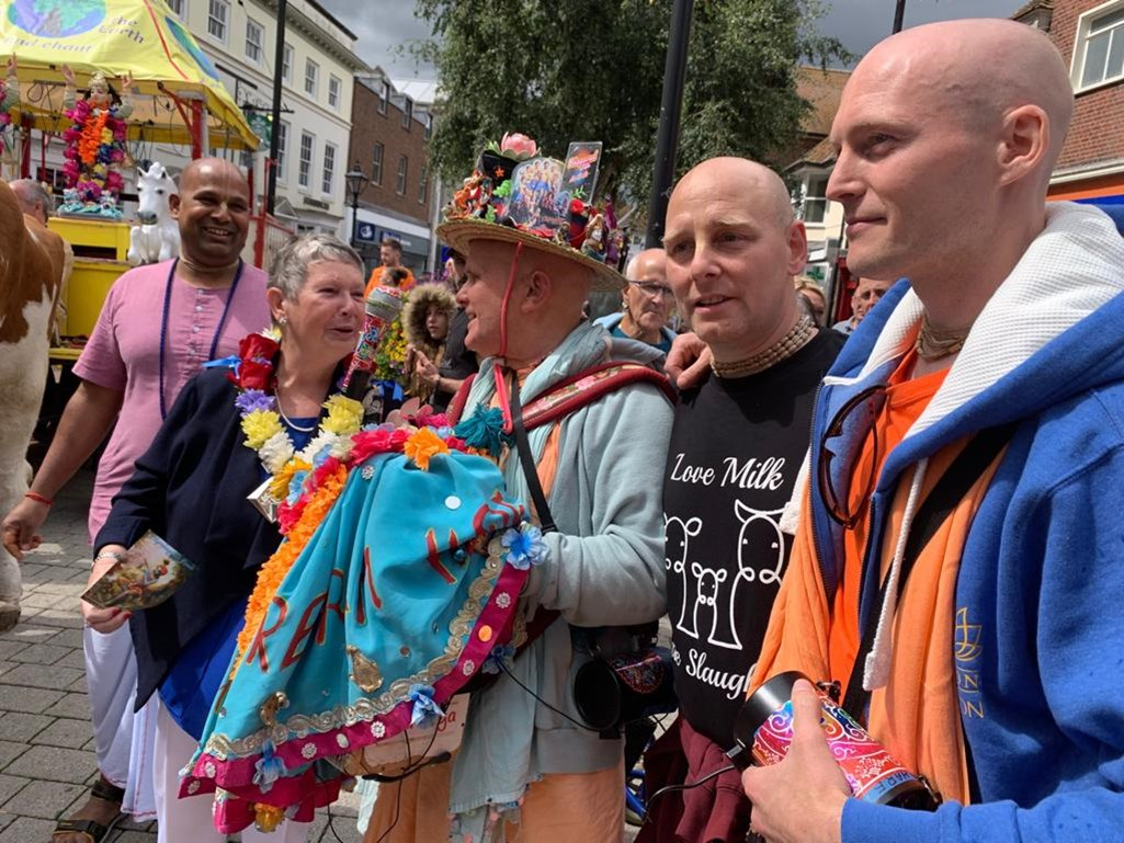 The Mayor with the Hare Krishna Group in 2019
