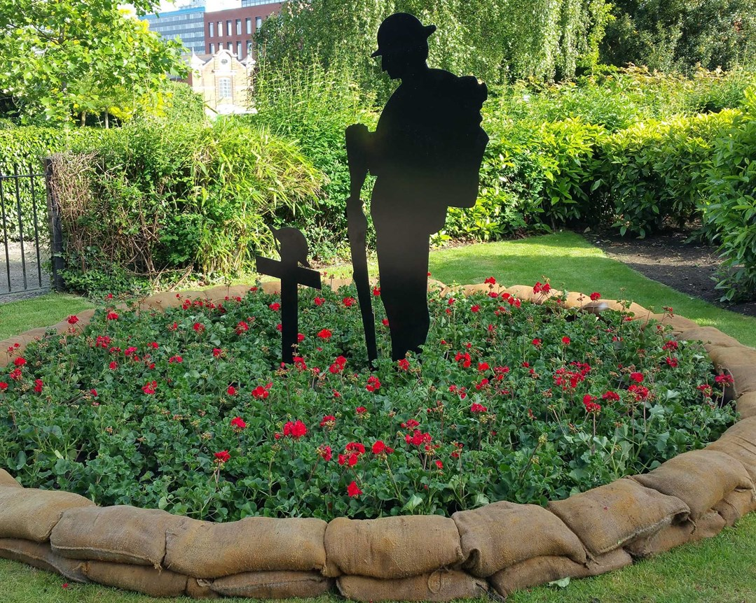 example of a tommy silhouette at the memorial gardens