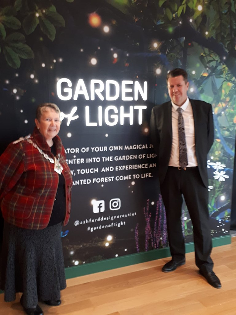 The Mayor at the Garden of Light exhibition at the Outlet