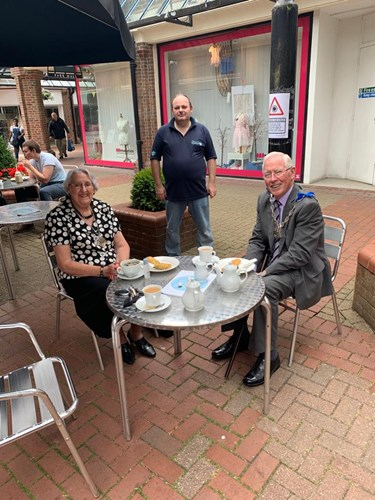 The Mayor of Ashford enjoying refreshments outside The Little Teapot