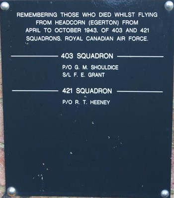 Plaque at RAF Headcorn War Memorial naming members of the Air Force who died whilst flying from Headcorn from April to October 1943.