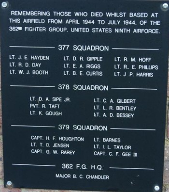 Plaque at RAF Headcorn showing the names of Air Force members who died whilst based at the airfield between April-July 1944