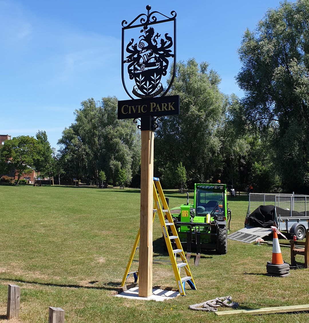 A photo of the completed Civic Park signage